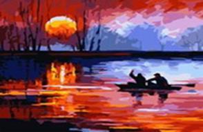 Живопись на холсте 40*50 см. Рыбалка на закате (543-CG)