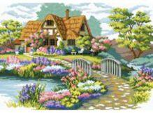 Наборы для вышивания (канва с водорастворимым рисунком). Мостик в цветах (7540-РК)