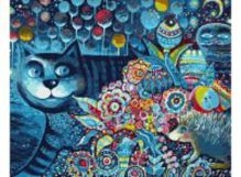 Живопись на холсте 40*50 см. Индиго кот (083-АВ)
