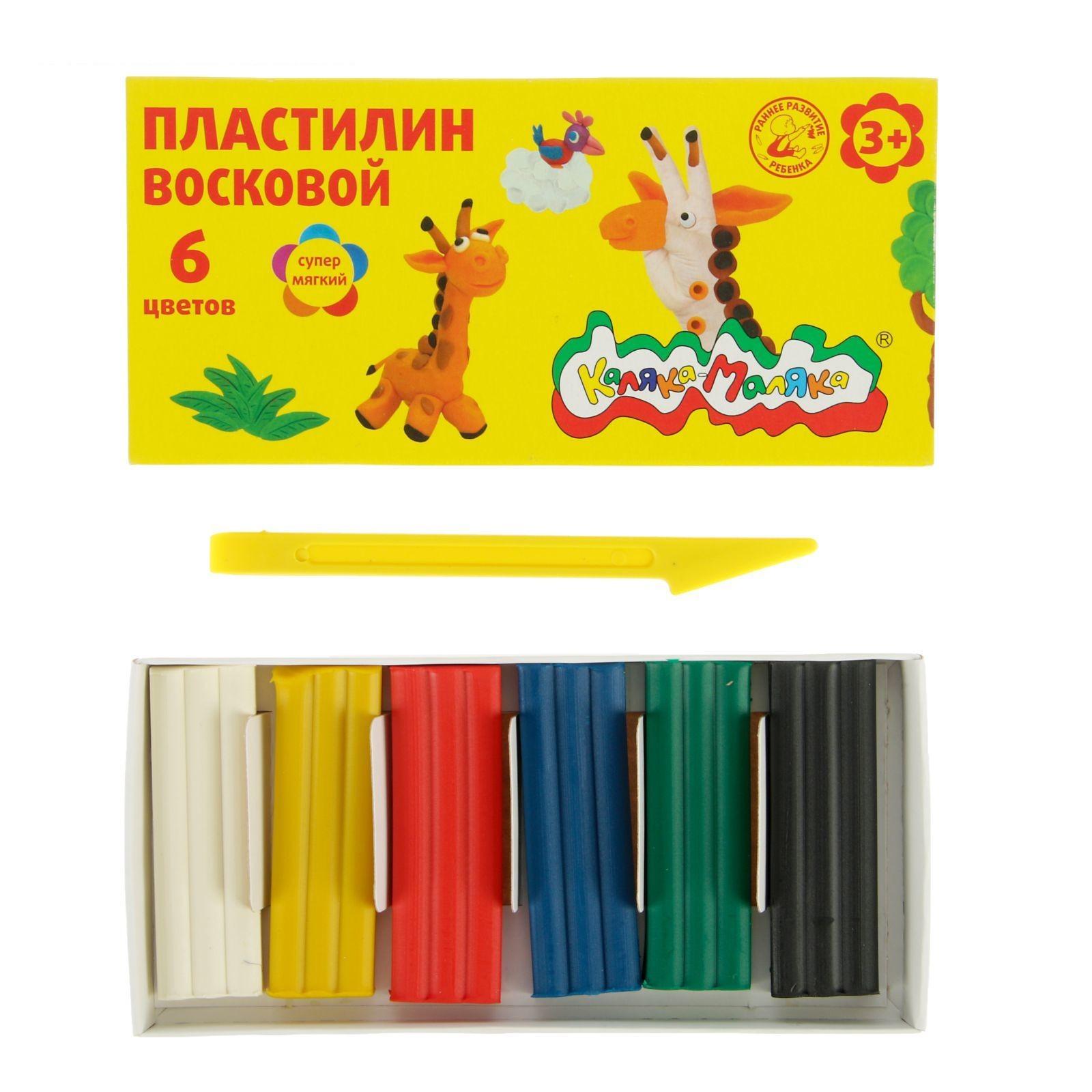 Пластилин восковой Каляка-Маляка 6 цв. 90г, стек