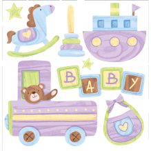 - Объемные наклейки Детские игрушки, 7 шт. обложка книги