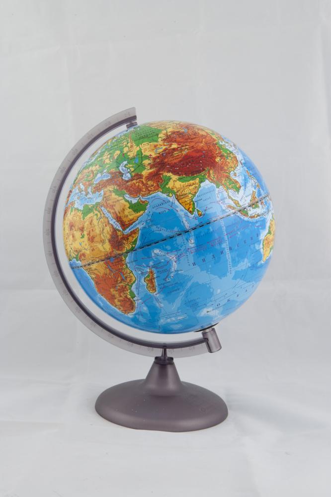 Глобус Земли физический с подсветкой  на подставке из пластика, диаметр 250 мм