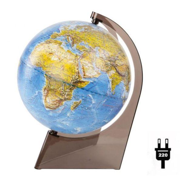 Глобус Земли Ландшафтный рельефный на треугольнике с подсветкой, диаметр 210 мм