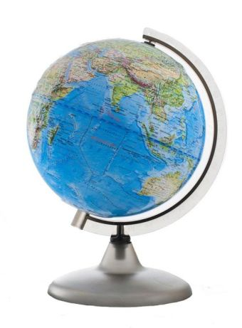 Глобус Земли Ландшафтный рельефный на дуге и подставке из пластика, диаметр 200 мм
