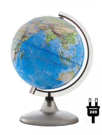 Глобус Земли Ландшафтный рельефный с подсветкой на дуге и подставке из пластика, диаметр 200 мм