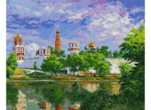 Живопись на холсте 40*50 см. Новодевичий монастырь (019-AB)