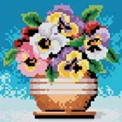 Стразы на подрамнике. Цветы в горшочке (018-RS-R)