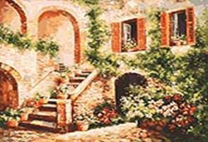 Живопись на холсте 40*50 см. Цветущий дворик (133-AB)