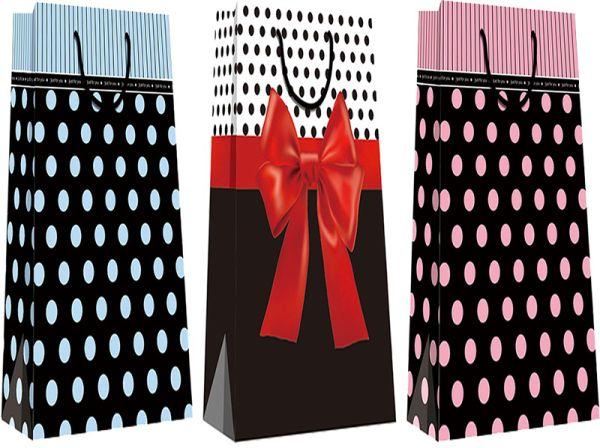 Пакет бумажный бутылочный, эффект: глянцевая поверхность,  микс из 2-х дизайнов, Размер 12 x 36 x 9,5 см, Упак. 12/300/600 шт.