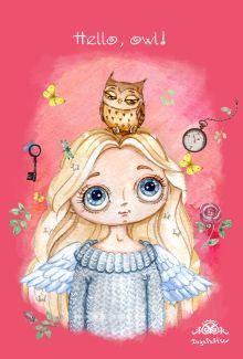 Блокнот. Ангел. Hello, owl!