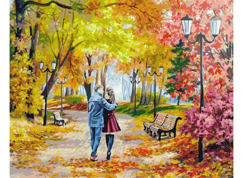 142-AB Осенний парк, скамейка, двое