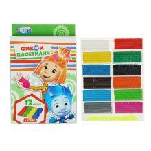 - Пластилин 12 цветов  Фиксики,240 грамм, стек пластиковый, картонная упаковка с европодвесом обложка книги