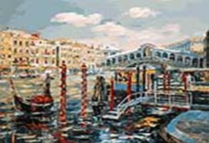 Живопись на холсте 40*50 см. Венеция. Мост Риальто (127-AB)
