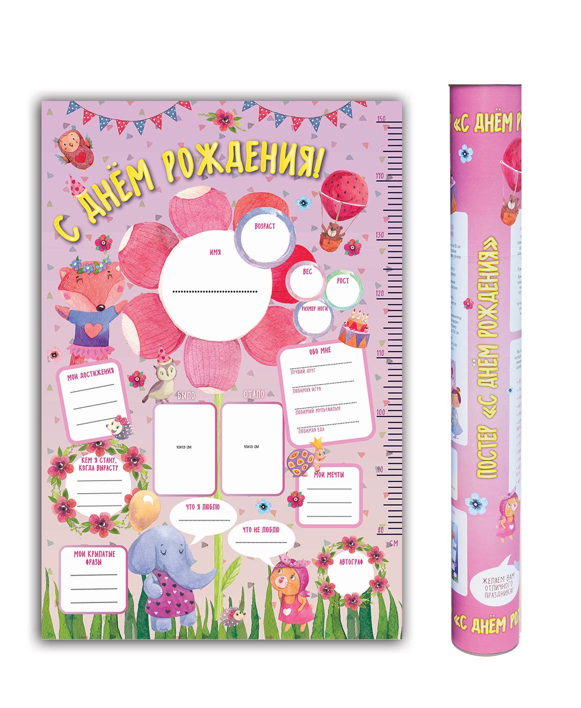 Плакат в тубусе С Днем Рождения (розовый)