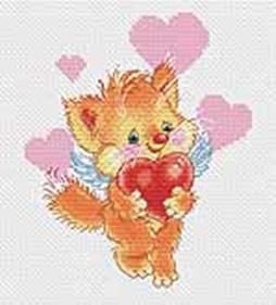 Наборы для вышивания. Котёнок с сердечком (149-14)