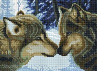 Мозаика на подрамнике. Два волка (260-ST-S)