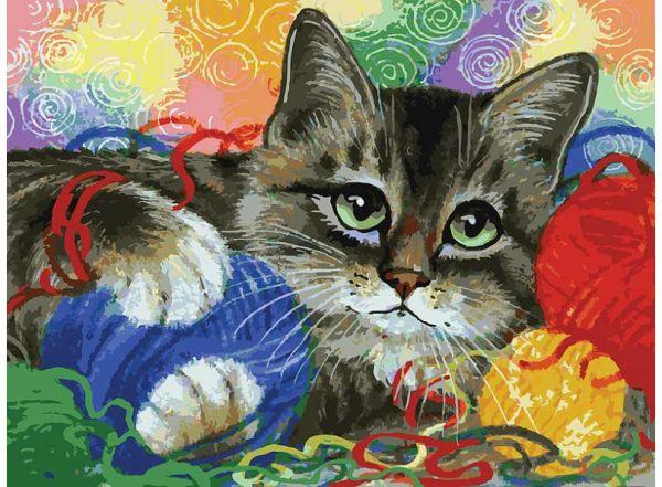 Наборы для живописи на картоне 30*40 см. Котик с клубочками (3005-CS)