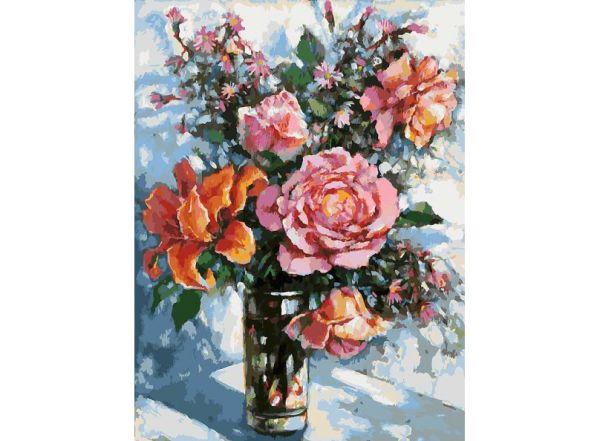 Живопись на холсте 30*40 см. Натюрморт с розами (001-AS)