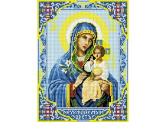"""Мозаика на подрамнике. Икона Божией Матери """"Неувядаемый Цвет"""" (073-ST-S)"""