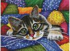 Мозаика на подрамнике Котик в лоскутках (246-ST-S)