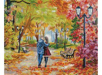 Мозаика на подрамнике Осенний парк, скамейка, двое (252-ST-S)