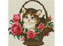 - Мозаика на подрамнике. Котёнок в корзинке (324-ST-S) обложка книги