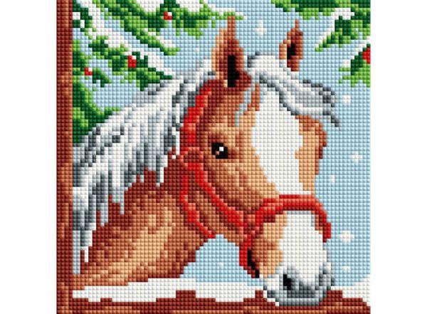 Мозаика на подрамнике. Белогривая лошадка (326-ST-S)