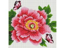 - Мозаика на подрамнике. Розовый цветок и бабочки (333-ST-S) обложка книги