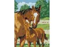 - Мозаика на подрамнике. Лошадь с жеребёнком (338-ST-S) обложка книги