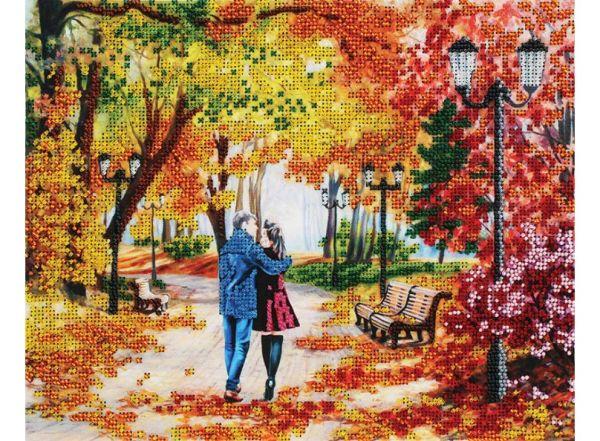Наборы для вышивания бисером. Осенний парк, скамейка, двое (9042-CM)