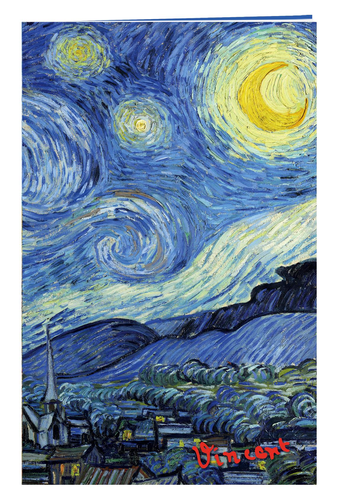 Блокнот в пластиковой обложке. Ван Гог. Звёздная ночь (формат малый, 64 страницы)