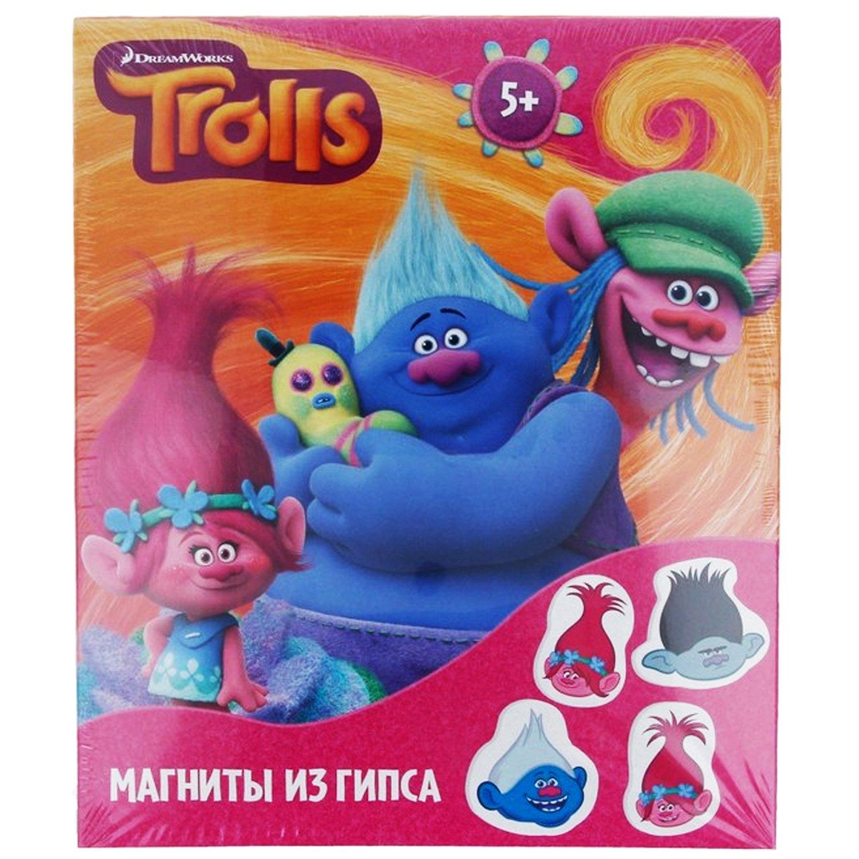 Магниты из гипса Тролли, в наборе: гипс, краски, кисть, пласт.форма, магнитная лента, инструкция