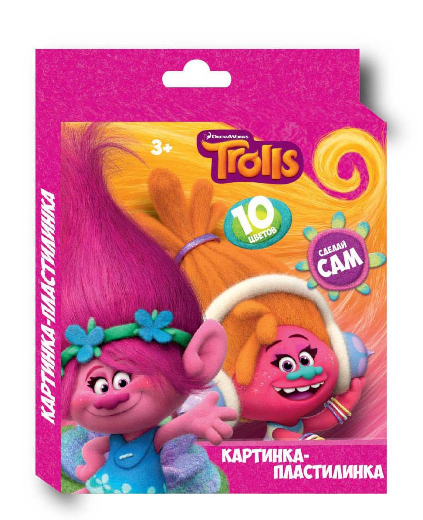 """Пластилин 10  цветов """"Тролли"""", картинка """"Тролли"""", 200 гр,  стек пластиковый, картонная упаковка с европодвесом"""