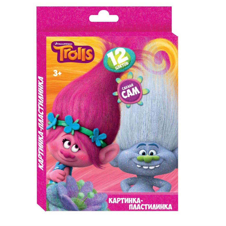 """Пластилин 12 цветов """"Тролли"""", картинка """"Тролли"""", 240 гр,  стек пластиковый, картонная упаковка с европодвесом"""