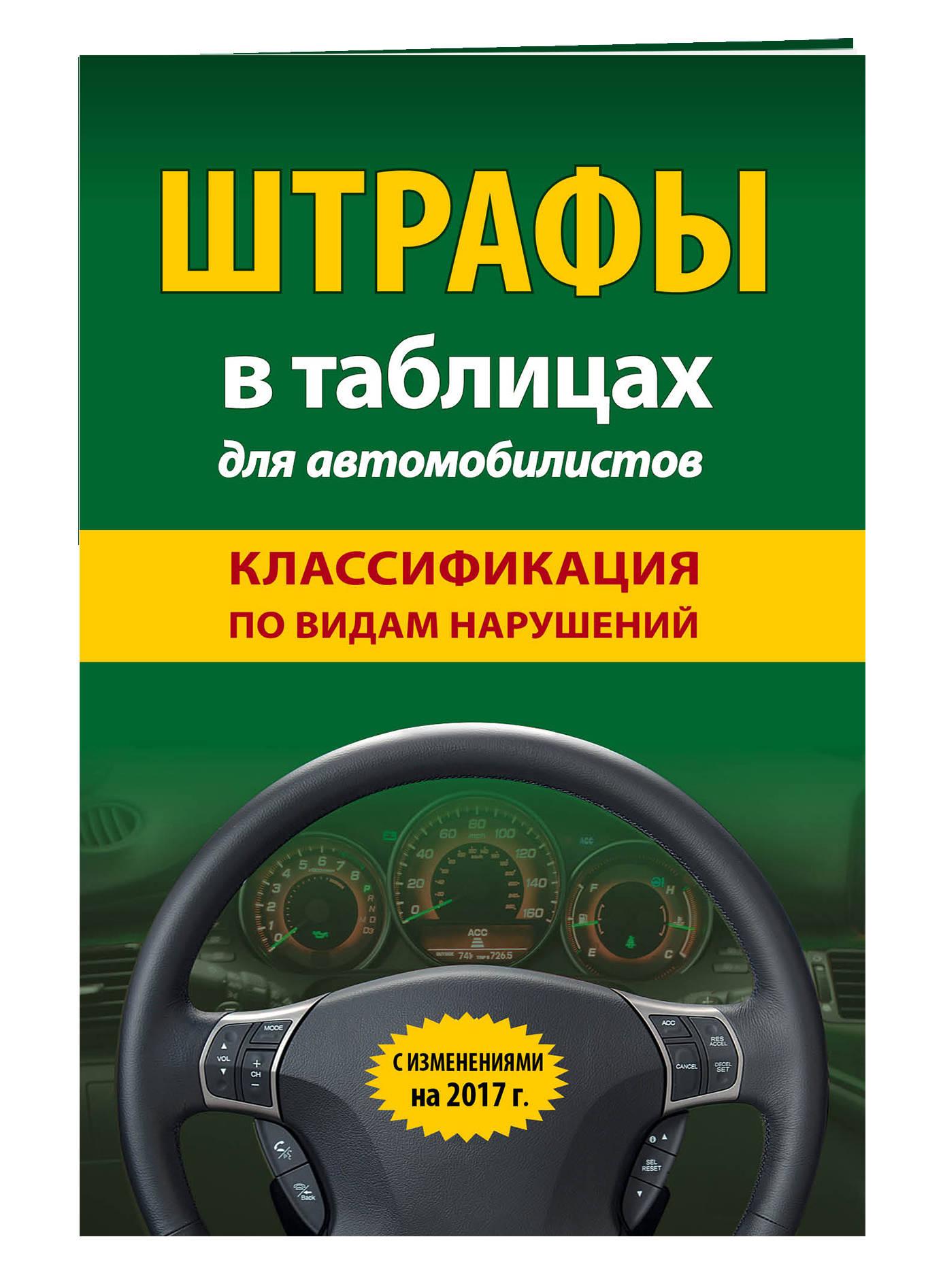 Штрафы в таблицах для автомобилистов с изм. на 2017 год (классификация по видам нарушений)