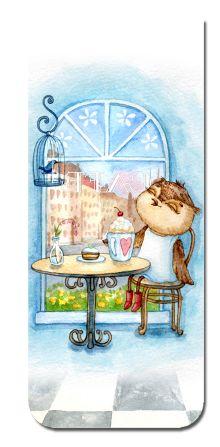 Обложка Магнитная закладка. Сова в кафе (большая закладка)
