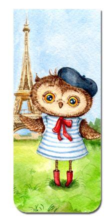 Обложка Магнитная закладка. Сова в Париже (большая закладка)