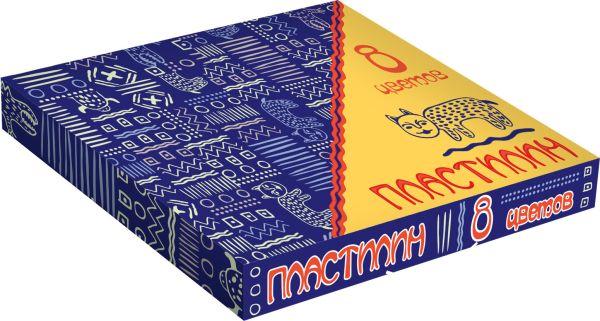 MNBZ-MS1-PSC-BOX8 Пластилин, 8 цветов. Вес - 10 гр. на каждый цвет. Упаковка - картонная коробка, 300 г/м2, печать 4+0.
