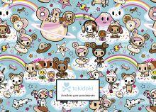 Обложка Вселенная tokidoki. Пончики. Альбом для рисования (бирюзовый) (формат А4, офсет 160 гр., 50 страниц, евроспираль, с заданиями)