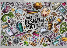 Обложка Design Art. Альбом для рисования (формат А4, офсет 160 гр., 50 страниц, евроспираль)