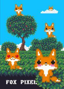 Обложка Fox pixel. Тетрадь школьная в мягкой обложке, 48 л.