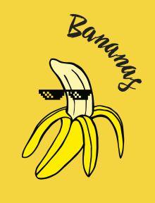 Обложка Bananas. Тетрадь общая (А5, 48 л., УФ-лак, накидка 4 п. полноцвет)