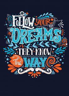 Follow your dreams (леттеринг). Тетрадь общая (А5, 48 л., накидки, клетка-стандарт)