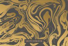 Обложка Скетчбук. Жидкое золото (формат В5, 128 стр, открытый корешок, бумага слоновая кость)