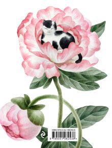 Обложка сзади Котик в цветах. Тетрадь в мягкой пластиковой обложке, А5, 80л.