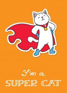 I am a supercat! Тетрадь общая (А5, 48 л., накидки, клетка-стандарт)